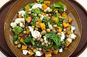 Chickpea salad with butternut squash and cottage cheese (top view)