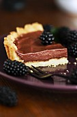 Chocolate mousse tart with blackberries