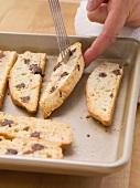 Freshly-baked chocolate and banana cookies