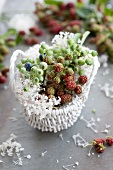 Blueberries, blackberries and scabious in basket