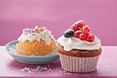 Mini bundt cake and chocolate muffin with berries