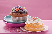 Chocolate muffin with Smarties and mini bundt cake