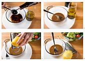 Making honey and mustard dressing