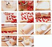 Biskuitroulade mit Erdbeer-Sahne-Füllung zubereiten