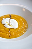 Bowl of Squash Soup with Creme Friache