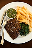 Skirt Steak with Spinach and French Fries; Cilantro Sauce; From Above