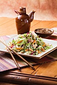 Asian Salad on a Square Dish with Chopsticks