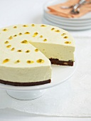Cheese cake with passion fruit sauce