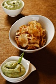 Courgette chips and guacamole