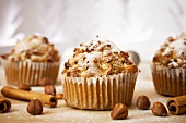 Muffins with nuts, apples and cinnamon