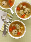Soup with Matze dumplings and vegetables