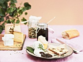 Various cheeses with damson chutney