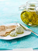 Pickled cream cheese with unleavened bread