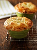 Pot pies on a wire rack