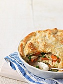 Chicken pot pie, sliced