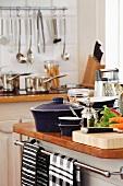 Kitchen island with kitchen utensils