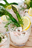 Shrimp cocktail with green asparagus