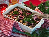 Fried, soused herring at Christmas
