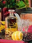Lemon and elderberry schnapps