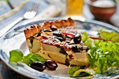 Potato quiche with mozzarella and black olives