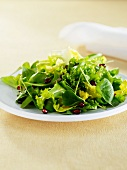 Fresh salad of lettuce and pomegranate seeds