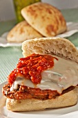 Eggplant Parmigiana Sandwich on Ciabatta Roll