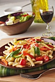 Pasta Primavera with Zucchini, Carrots, Red Pepper, Tomatoes, Basil and Grated Romano Cheese