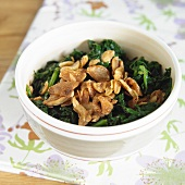Bowl of Wilted Spinach with Roasted Garlic