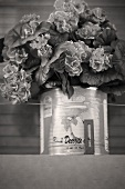 Tin can with bouquet