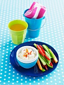 Cottage cheese dip with vegetable sticks