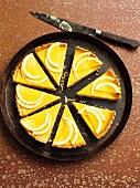 A bitter orange tart with a cinnamon shortcrust base