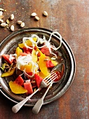 Orange and watermelon salad with pistachios