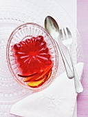 Berry jelly with nectarine slices