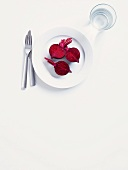 Beetroot on a white plate