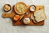 Grains of corn, lentils, oats and wholemeal bread