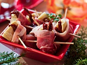 Artichoke hearts wrapped in Parma ham for Christmas dinner