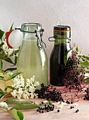 Elderflower syrup and elderberry juice