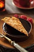 Chocolate tart with almond brittle