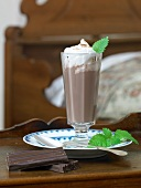 Hot chocolate with cream and mint
