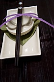 Japanese place setting with chop sticks