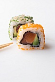 Ura maki with salmon and avocado