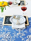 A slate used as part of a place setting