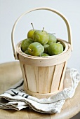 Greengages in a basket