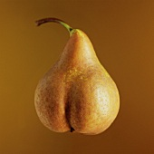 A pear in front of a brown background