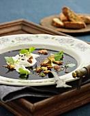 Blueberry soup with yogurt and skorpor (Sweden)
