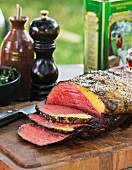 Roast beef, partly carved