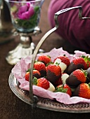 Chocolate strawberries with white and dark chocolate