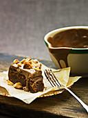 Chocolate cake with a macadamia nut and chocolate glaze