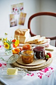 Breakfast with various types of jam and bread