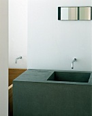 Cube-shaped washstand with integrated sink